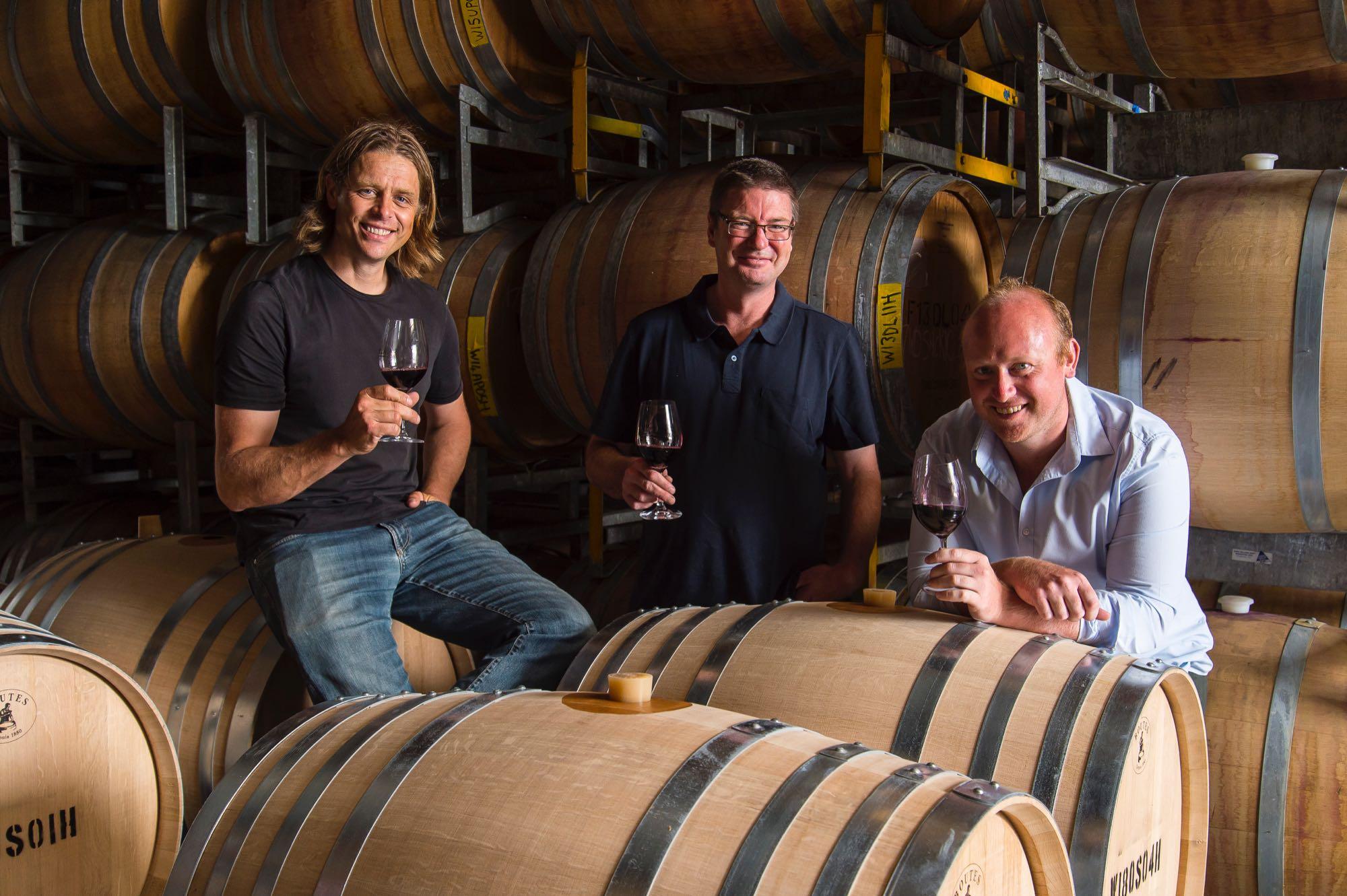 Phil Lehmann, Charles Ormsby & James Lienert in cellar (1)